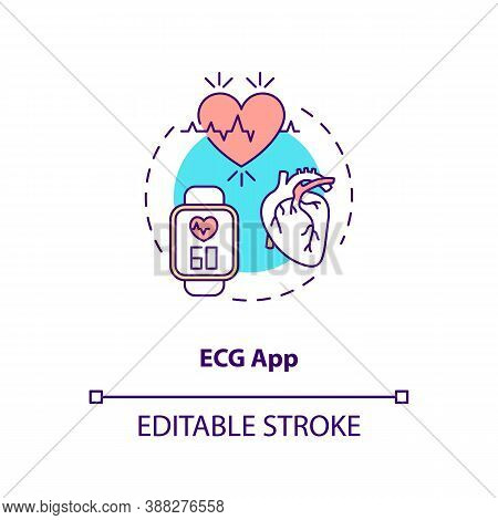 Ecg App Concept Icon. Wearable Technology Feature Idea Thin Line Illustration. Electrocardiogram. He