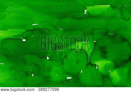 Watercolor On Paper Texture, Abstract Fresh Background In Green Shades