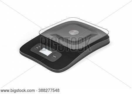 Black Food Scale With Electronic Display And Glass Tray Isolated On White Background - Copy Space -