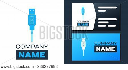 Logotype Usb Cable Cord Icon Isolated On White Background. Connectors And Sockets For Pc And Mobile