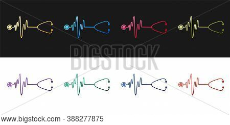 Set Stethoscope With A Heart Beat Icon Isolated On Black And White Background. Medical Concept. Puls