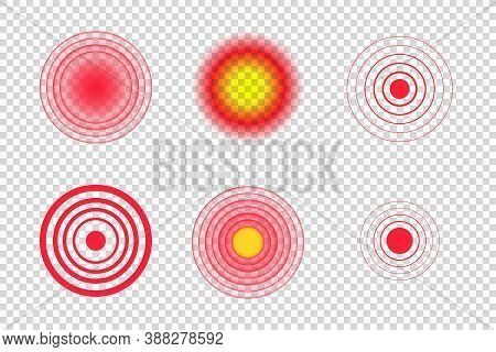 Red Pain Circle Spot Vector Illustration. Medical Target Point Icon. Body, Muscle, Concentric, Stoma