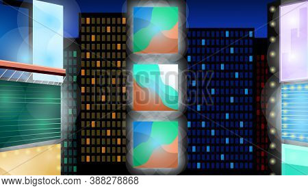 Abstract Night City Background. Cityscape On A Dark Background With Bright And Glowing Neon Lights O