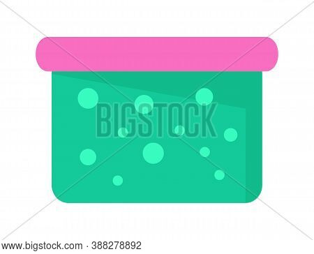 Washing Powder Box Vector Cartoon Illustration, Laundry Powder In Plastic Box With Cover On White. C