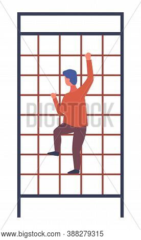 The Boy Climbs Up The Staircase Grate Holding His Hands. Childrens Summer Playground With Ladder In