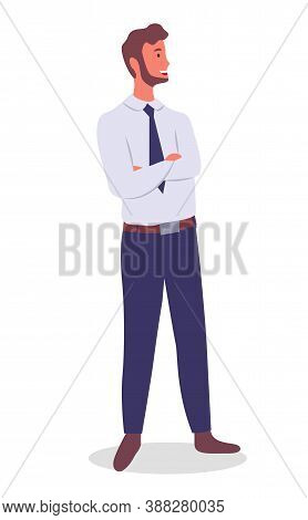 Smiling Man Young Businessman Dressed In Shirt And Tie Standing Crossed His Arms Over His Chest At F