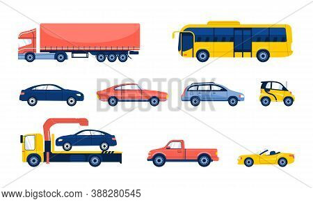 Set Of Different Cartoon Flat Cars. Side View. Truck, Bus, Pickup, Cabriolet, Tow Truck.