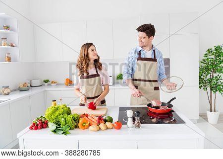 Dream Harmony Two People Lover Enjoy Weekend Cooking Recipe Man Frying Pan Beef Meat Supper Girl Cut