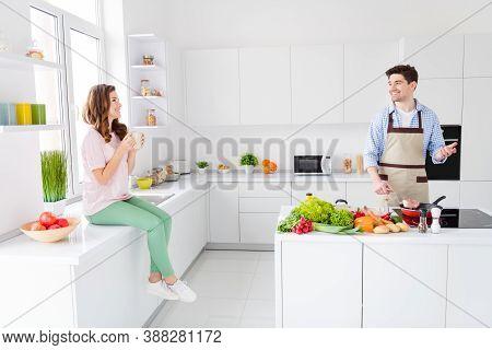 Loving Dream Harmony Family Concept. Full Length Photo Of Couple Enjoy Hobby Cooking Man Fry Roast M