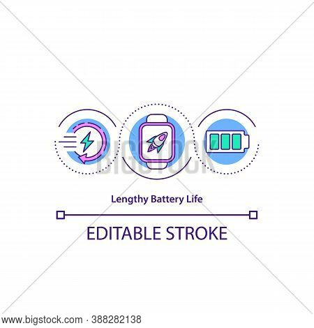 Lengthy Battery Life Concept Icon. Smartwatch Battery Life Test. Maximizes. Charging Ability Indicat