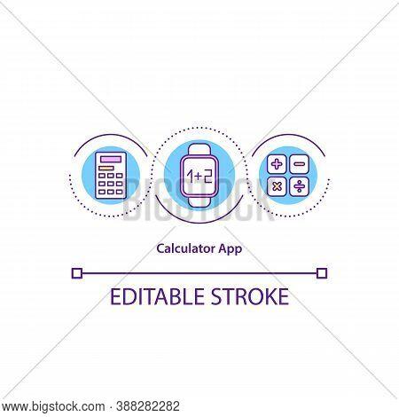 Calculator App Concept Icon. Mathematical Functions. Algebra. Smart Watch Math Program Idea Thin Lin