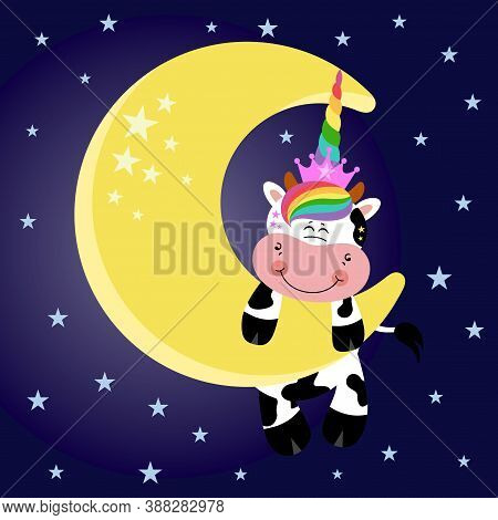 Scalable Vectorial Representing A Unicorn Cow Hanging On Moon In Sky, Element For Design,,colored Ve