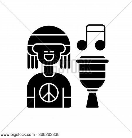 Reggae Music Black Glyph Icon. Rasta Songs. Modern Style. Exciting Paty. Person With Hippie Tshirt.
