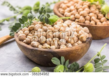 Uncooked Dried Chickpeas With Raw Green Chickpea Pod Plant.chickpea Pod Plant On Wooden Table. Heap