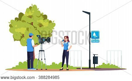 Reportage Semi Flat Rgb Color Vector Illustration. Television Crew. Professionl Tv Equipment. Filmin