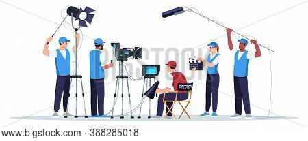 Filming Crew Semi Flat Rgb Color Vector Illustration. Director Watching On Screen. Cameraman With Eq