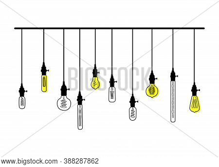 Hand Drawn Vector Set Of Different Geometric Loft Lamps Bulbs With Yellow Glow.