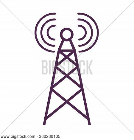 Radio Tower Icon. Telecommunications Signal Transmission. Technological Concept.