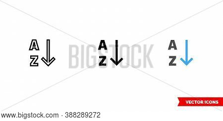 Alphabetical Sorting Icon Of 3 Types Color, Black And White, Outline. Isolated Vector Sign Symbol.