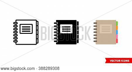 Copybook Icon Of 3 Types Color, Black And White, Outline. Isolated Vector Sign Symbol.