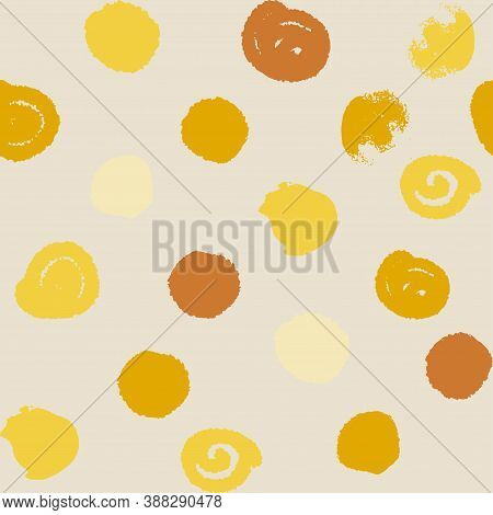 Boho Style Pattern In Natural Shades For Clothing And Surface Design In Irregular Polka Dots Hand-dr