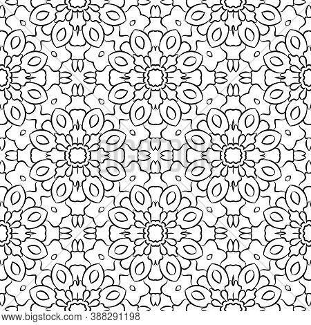 Fantasy Seamless Pattern With Decorative Mandala. Abstract Round Doodle Floral Background. Floral Ge