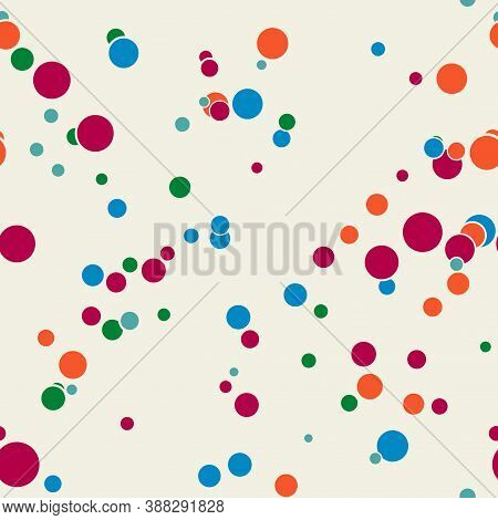 Abstract Seamless Pattern With Colorful Chaotic Small Circles. Infinity Dotted Messy Geometric Patte