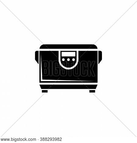 Multicooker, Kitchen Multi Cooker Machine. Flat Vector Icon Illustration. Simple Black Symbol On Whi
