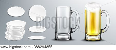 Empty And Full Of Beer Glass Mug And White Circle Coasters In Stack And Top View. Vector Realistic M