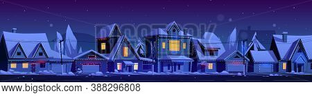 Residential Houses With Christmas Decoration At Night. Vector Cartoon Winter Landscape With Street I
