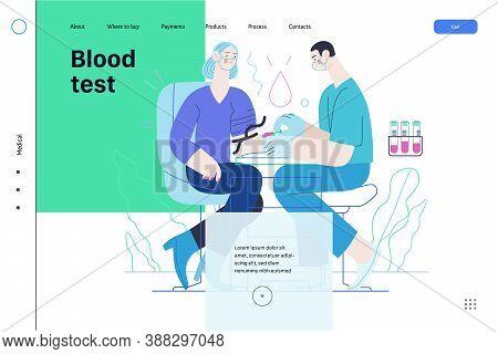 Medical Tests Illustration - Blood Test - Modern Flat Vector Concept Digital Illustration Of Blood T