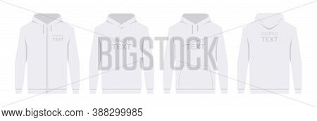 Men's Hoodie White. Blank Template Hoody Front And Back View. Isolated On White Background