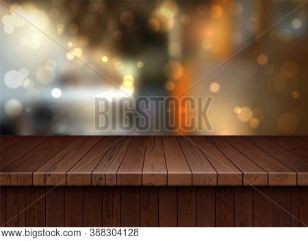 Realistic Detailed 3d Brown Wooden Floor On A Background. Vector Illustration Of Hardwood Textured F