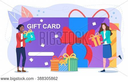 Shopping Gift Card Abstract Concept. With Two Girls Holding Boxes Of Gifts In The Background Of A Gi