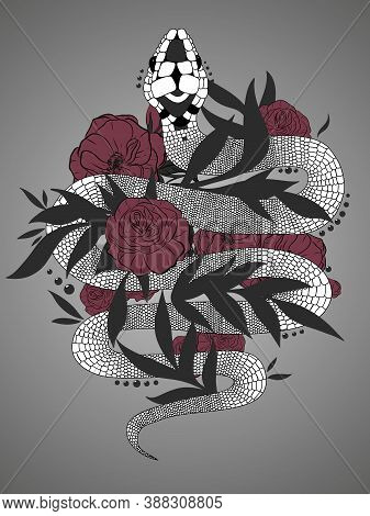 Hand Drawn Vintage Snake With Black Leaves And Red Roses Illustration. Graphic Sketch For Posters, T