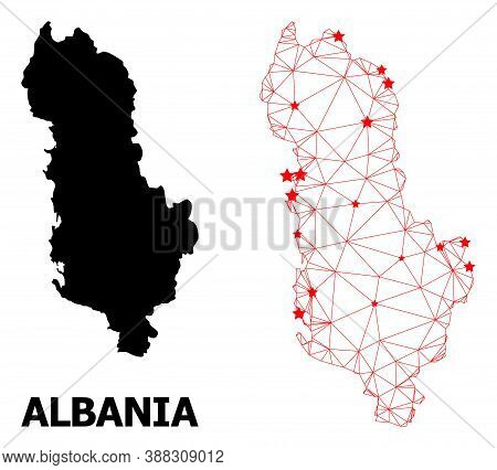 Carcass Polygonal And Solid Map Of Albania. Vector Structure Is Created From Map Of Albania With Red