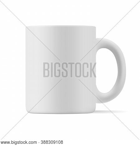 Vector Realistic Matte Mockup Of A Mug For Drinks Front View. White Blank Isolated Cup. Eps 10