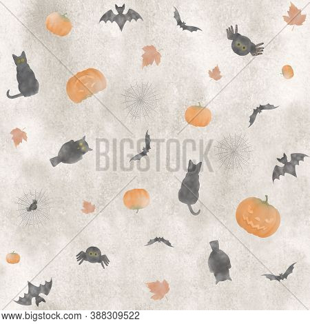 Cute Hand Painted Seamless Repetitive Watercolor Halloween Pattern, With Pumpkins, Bats, Black Cats