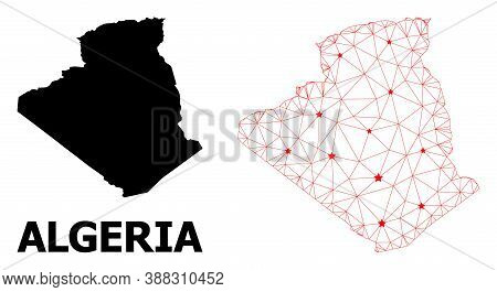 Carcass Polygonal And Solid Map Of Algeria. Vector Structure Is Created From Map Of Algeria With Red