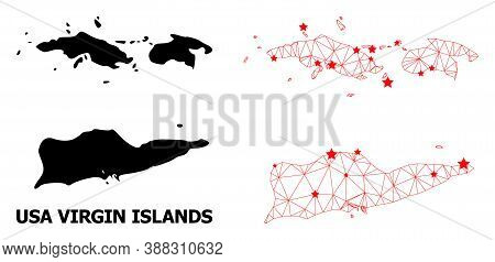 2d Polygonal And Solid Map Of American Virgin Islands. Vector Structure Is Created From Map Of Ameri