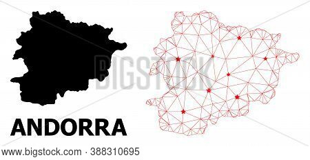 2d Polygonal And Solid Map Of Andorra. Vector Structure Is Created From Map Of Andorra With Red Star