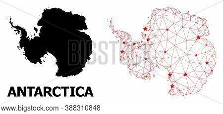Wire Frame Polygonal And Solid Map Of Antarctica. Vector Structure Is Created From Map Of Antarctica