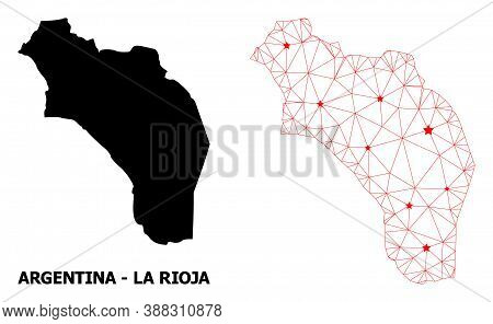 Network Polygonal And Solid Map Of Argentina - La Rioja. Vector Structure Is Created From Map Of Arg