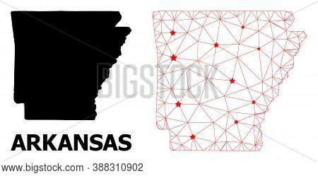 Wire Frame Polygonal And Solid Map Of Arkansas State. Vector Structure Is Created From Map Of Arkans