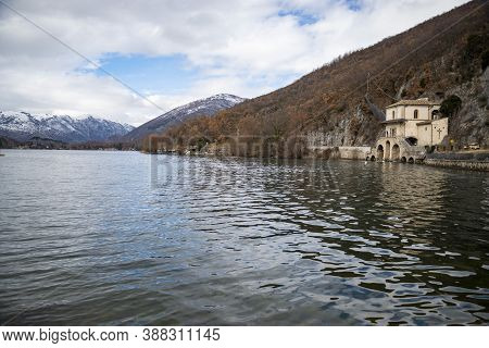 Italy, Scanno, View Of The Lake From The Entrance Of The Santa Maria Del Lago Church
