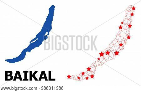 Wire Frame Polygonal And Solid Map Of Baikal. Vector Structure Is Created From Map Of Baikal With Re