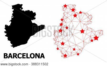Wire Frame Polygonal And Solid Map Of Barcelona Province. Vector Model Is Created From Map Of Barcel