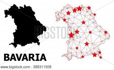 Wire Frame Polygonal And Solid Map Of Bavaria State. Vector Model Is Created From Map Of Bavaria Sta