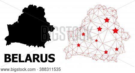 2d Polygonal And Solid Map Of Belarus. Vector Model Is Created From Map Of Belarus With Red Stars. A