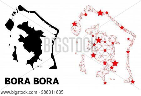 Mesh Polygonal And Solid Map Of Bora-bora. Vector Model Is Created From Map Of Bora-bora With Red St